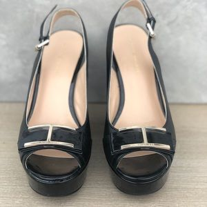 Tommy Hilfiger Black Leather Wedges Size 6.5 M